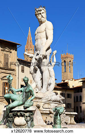 Pictures of Neptune fountain, Piazza della Signoria, Florence.