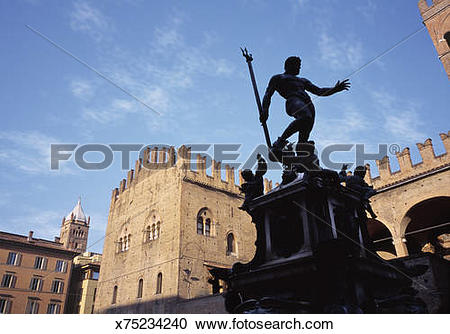 Stock Photography of Italy, Bologna, Neptune fountain in front of.