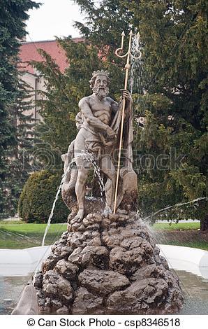 Pictures of Neptune fountain (slovak: Neptunova fontana) in Presov.