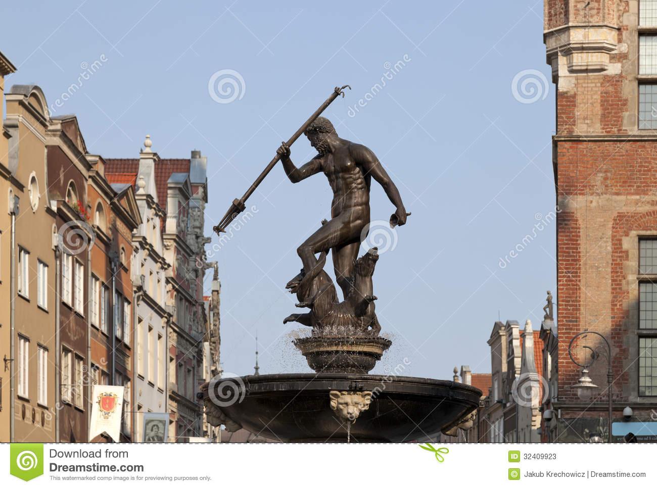 Neptune's Fountain In Gdansk, Poland Stock Photos.