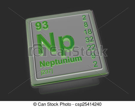 Drawing of Neptunium. Chemical element. 3d csp25414240.