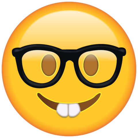 Nerd Emoji With Glasses.