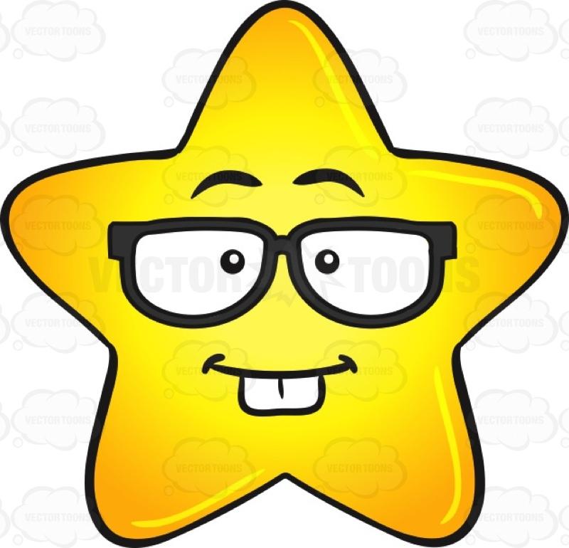 Nerd Looking Gold Star Cartoon Wearing Eye Glasses Emoji.