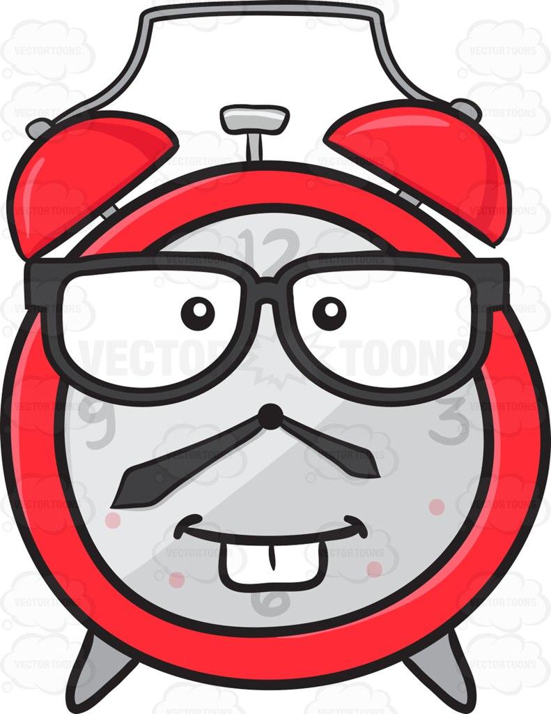 Nerd Looking Alarm Clock Wearing Eye Glasses Emoji Cartoon Clipart.