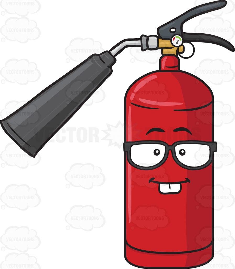 Nerd Looking Fire Extinguisher With Eye Glasses Emoji Cartoon Clipart.