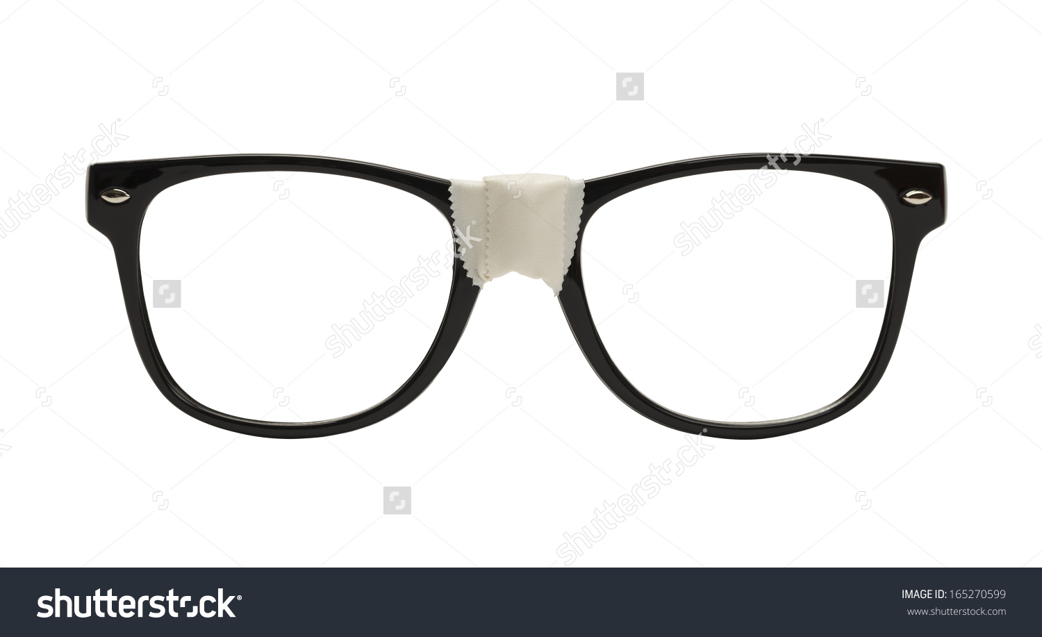 Front View Black Nerd Glasses Tape Stock Photo 165270599.