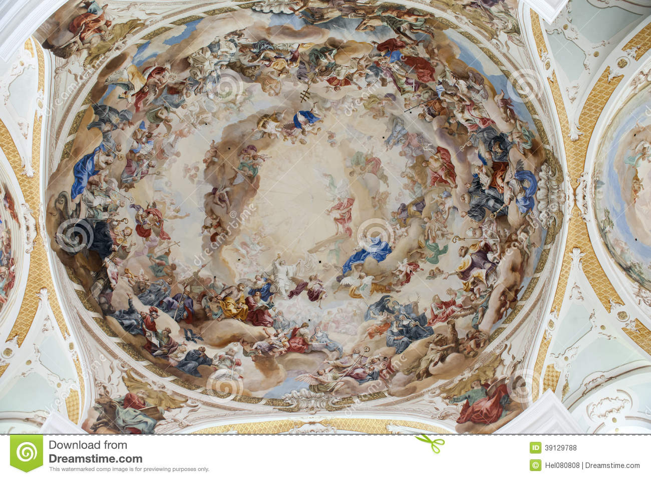 Painted Ceiling Abbey Church Neresheim Stock Photo.