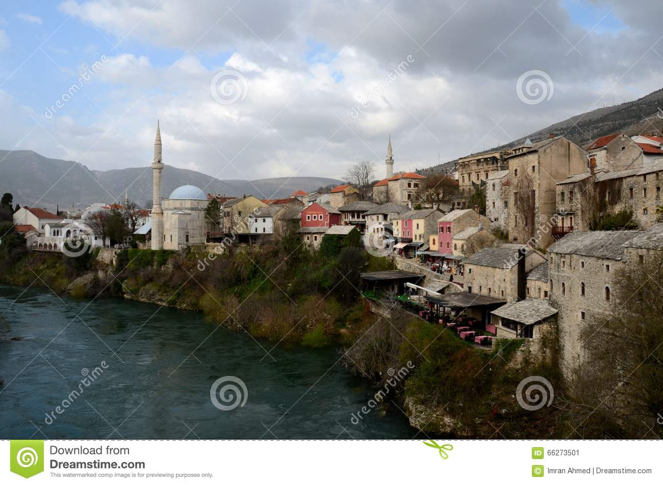 Mostar City And Neretva River Royalty Free Stock Photos.