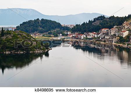 Stock Image of Small Town on Neretva River in Dalmatia, Croatia.