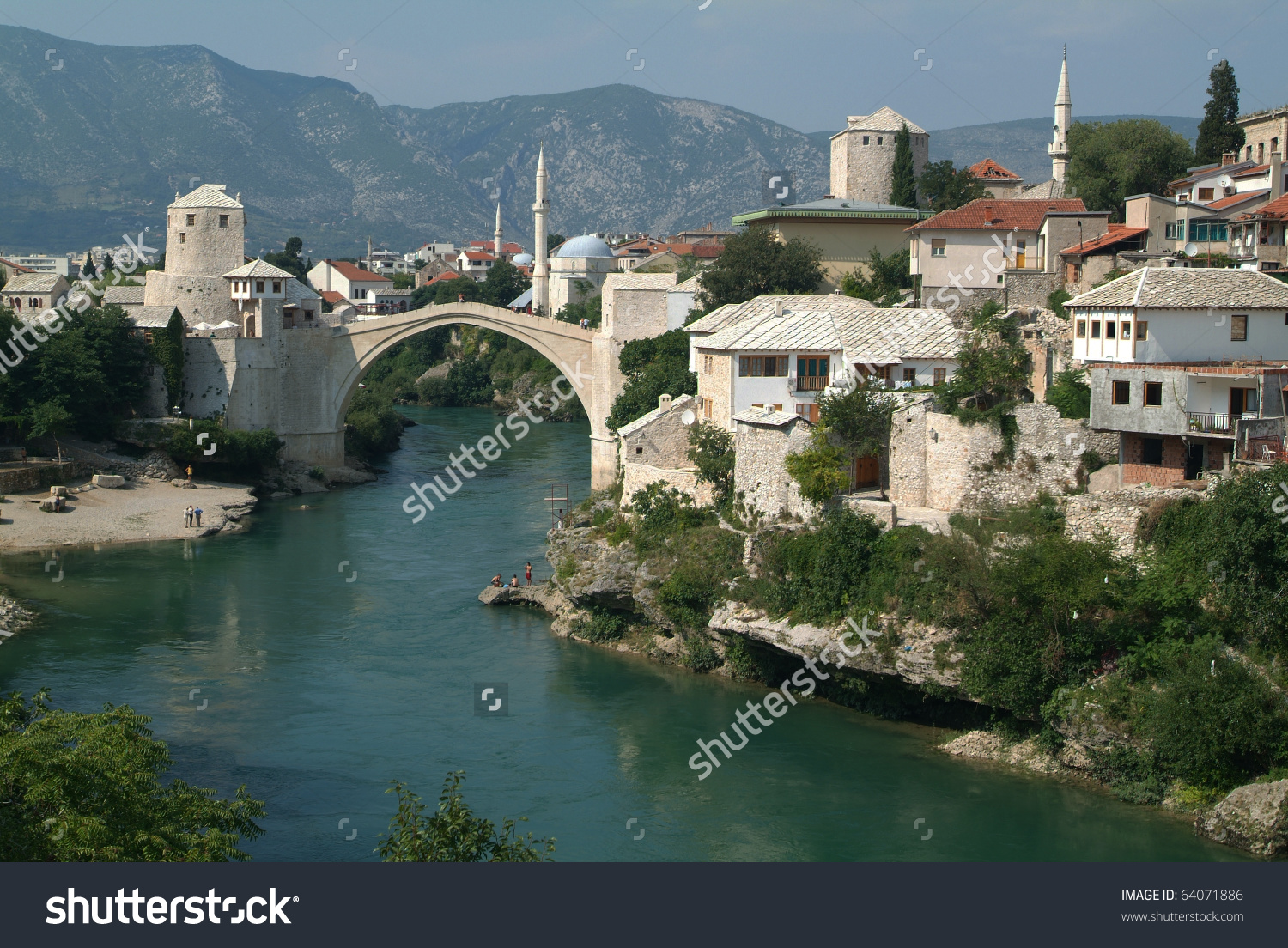 Bridge Over Neretva River On Mostar Stock Photo 64071886.