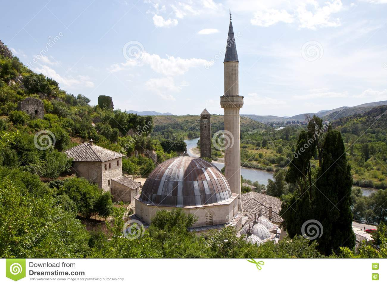 Old Mosque And Neretva River View From The Top Of Pocitelj, Bosnia.