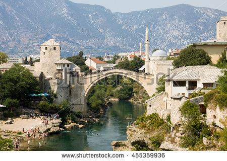Old Bridge On River Neretva Mostar Stock Photo 71924257.