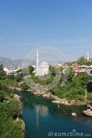 Mostar,Mehmed Pasa Mosque,Neretva River,Bosnia And Herzegovina.