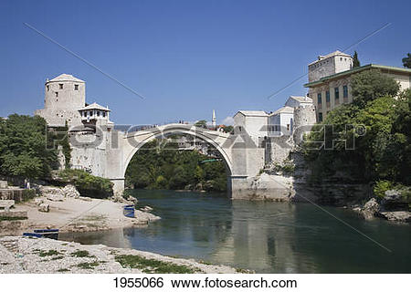 Stock Images of Old Bridge (Stari Most) Over The Neretva River.