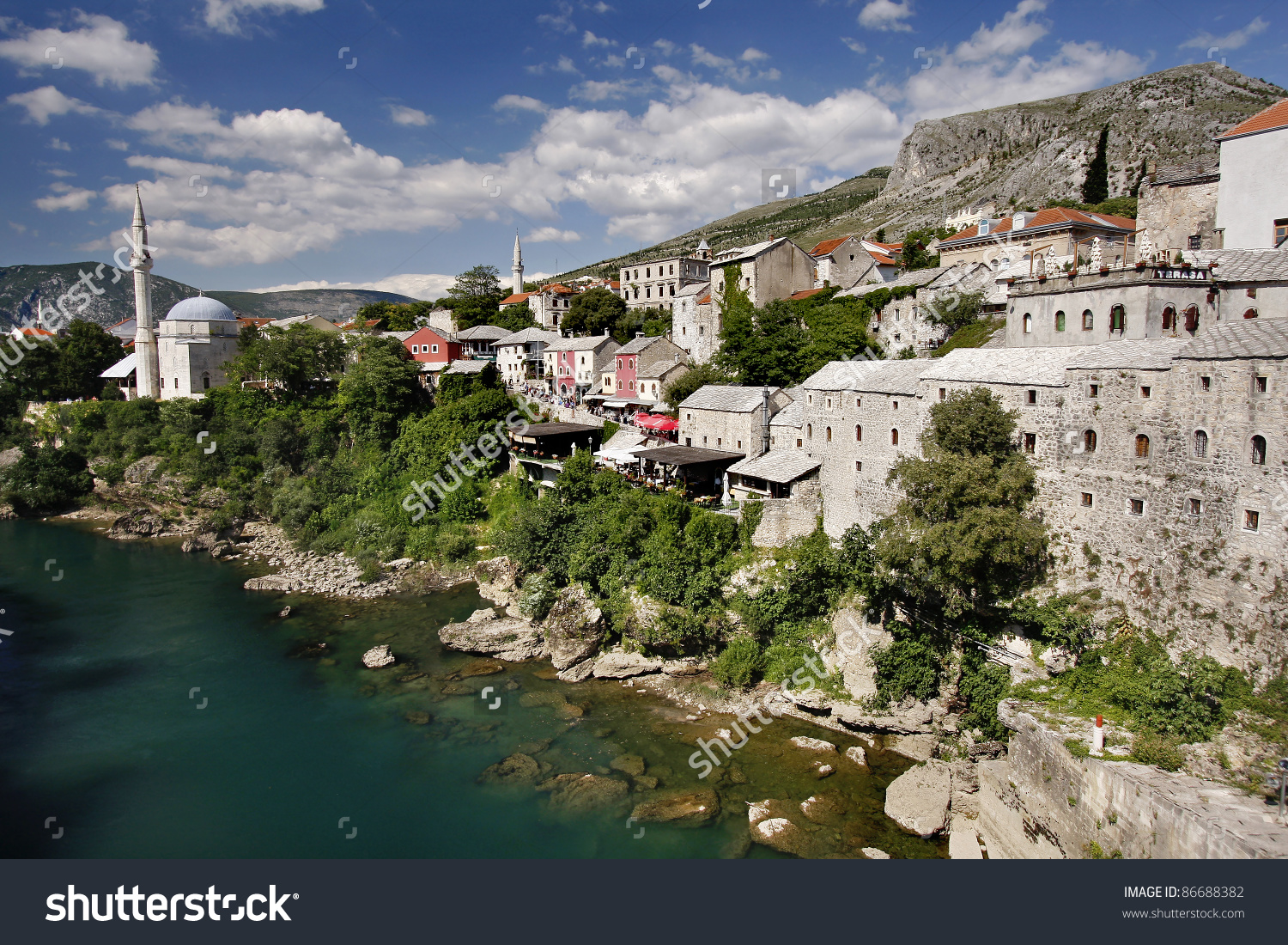 Panoramic View Neretva River Old Cobbled Stock Photo 86688382.