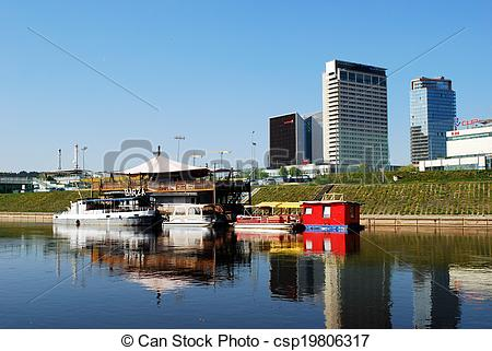 Stock Photography of Vilnius ships in the Neris river on April 26.