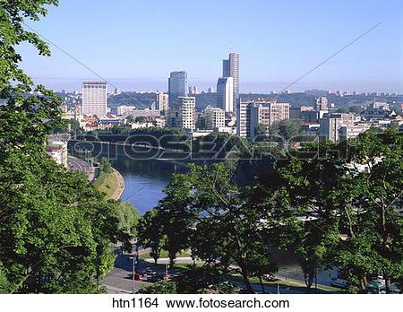 Stock Photo of Skyline, New Town, Neris River, Vilnius, Lithuania.