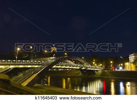 Stock Photo of Bridge over the Neris River in Vilnius, Lithuania.