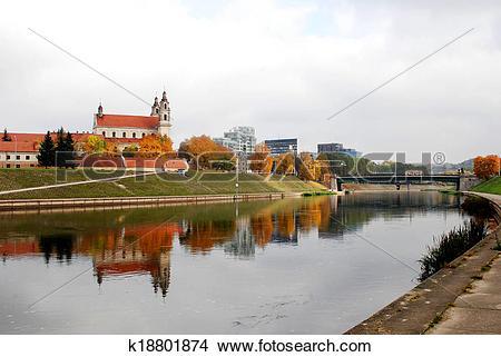 Stock Photo of Vilnius archangel church on the board river Neris.