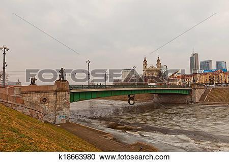 Stock Photography of Green Bridge over Neris River in Vilnius.