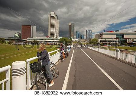 Stock Photo of Lithuania, Vilnius, modern buildings of the.