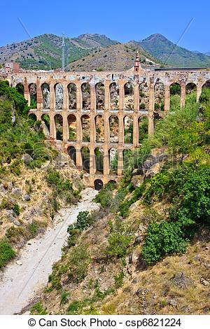 Stock Photo of Old aqueduct in Nerja, Spain.