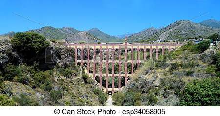 Stock Photography of Historical Landmark Old Aqueduct Puente del.