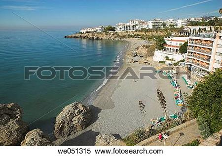 Stock Image of Playa del Salon, Nerja. Axarquia, Malaga province.