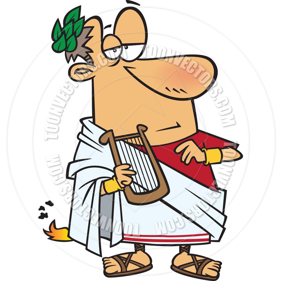 Cartoon Roman Emperor Nero by Ron Leishman.