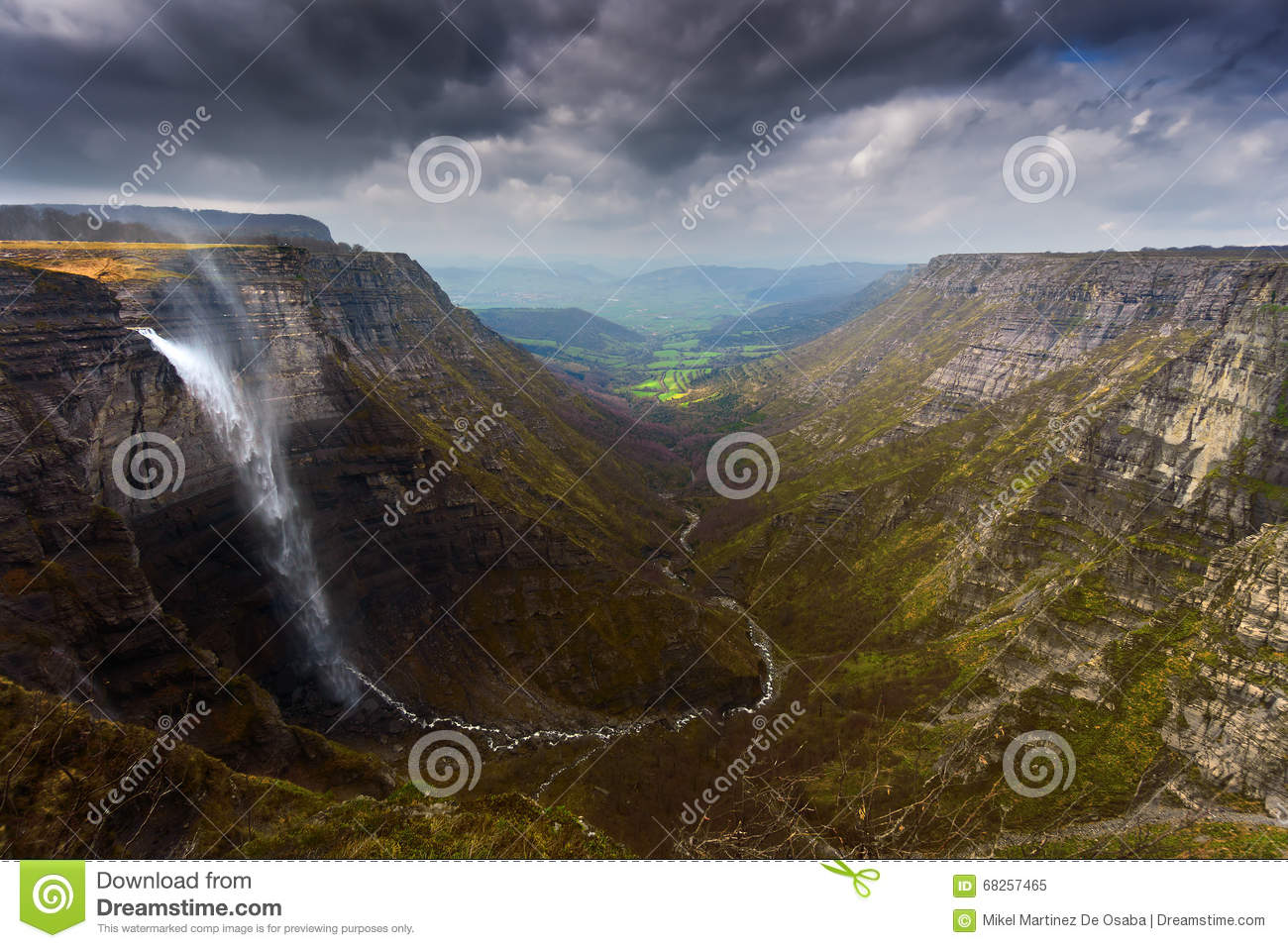Nervion River Source And Waterfall Stock Photo.