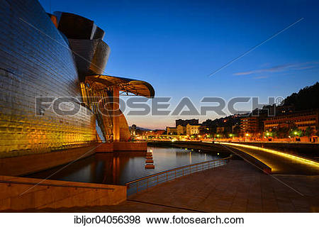 """Pictures of """"Guggenheim Museum Bilbao, by Frank Gehry, the Nervion."""