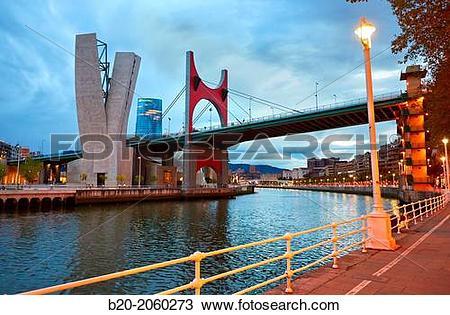 Stock Photo of Campo Volantin. Puente de La Salve bridge. Nervion.