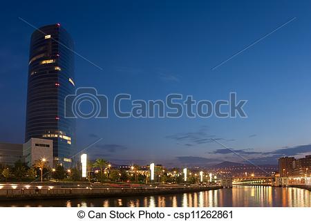 Stock Image of River nervion, Abandoibarra, Bilbao, Bizkaia.