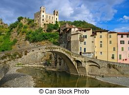 Stock Photo of Dolceacqua Bridge.
