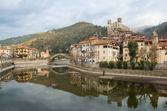 Dolceacqua Village, Liguria, Italy. Stone Bridge Stock Photo.