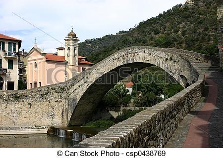 Stock Fotografien von Brücke, dolceacqua.