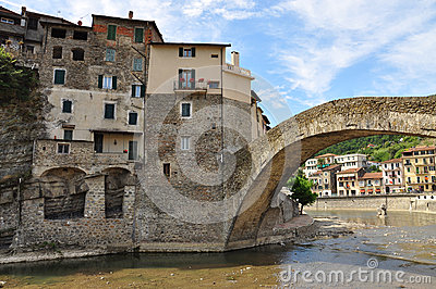 Dolceacqua Village, Liguria, Italy. Stone Bridge Stock Photo.