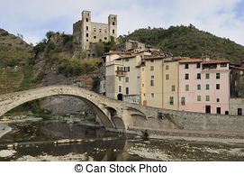 Stock Photo of Dolceacqua Bridge.