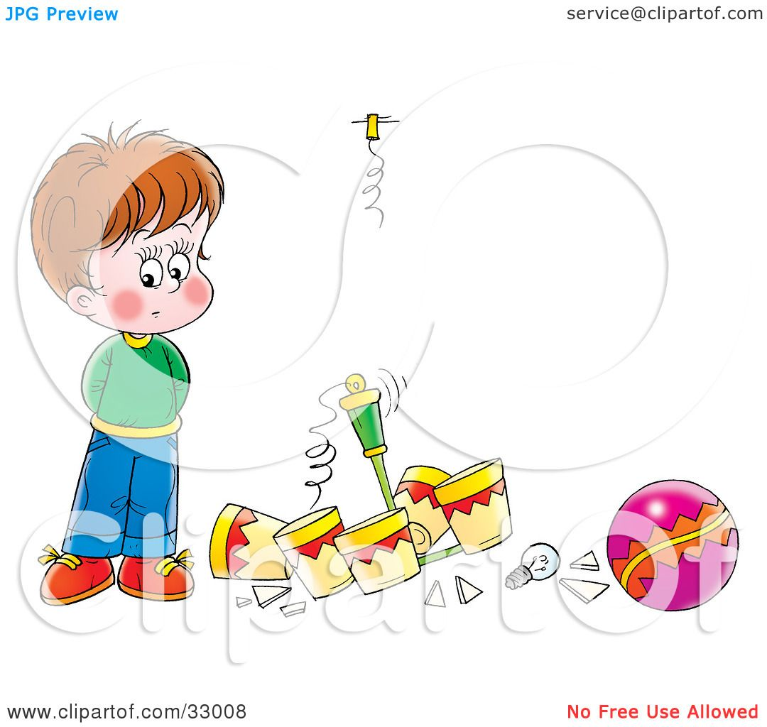 Clipart Illustration of a Nervous Boy Standing By A Light He Broke.