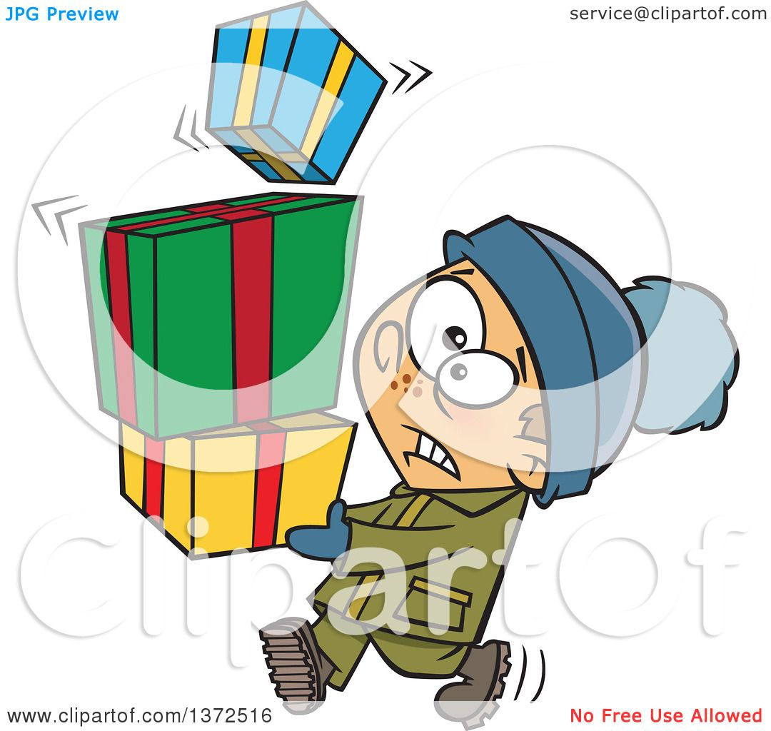 Cartoon Clipart of a Nervous Caucasian Boy Carrying a Shaky Stack.