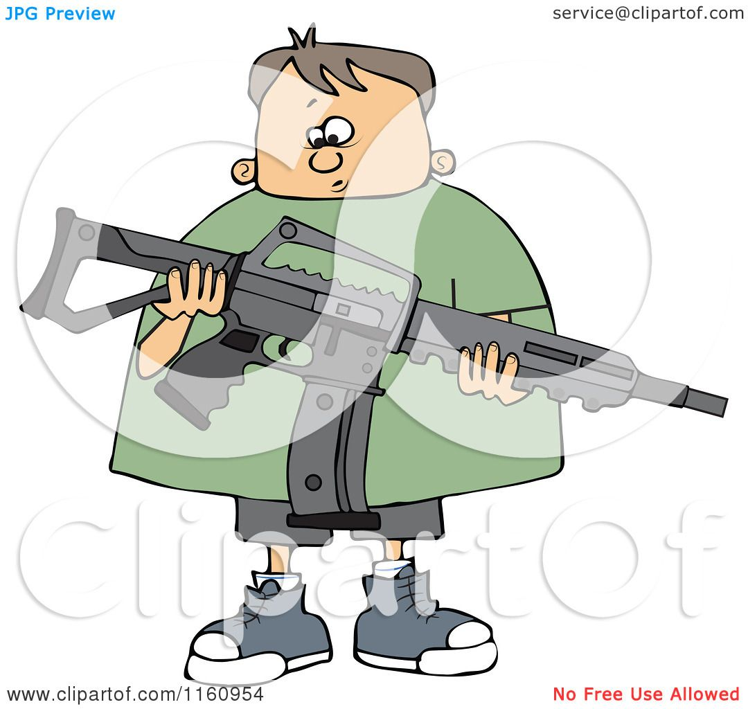Cartoon of a Nervous Caucasian Boy Holding an Assault Rifle.