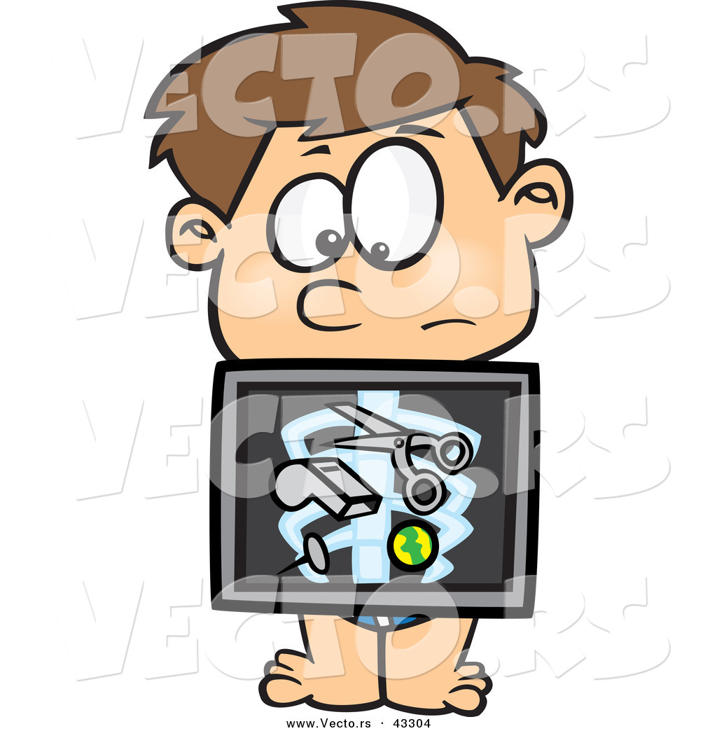 Vector of a Nervous Cartoon Boy with an Xray Showing Swallowed.
