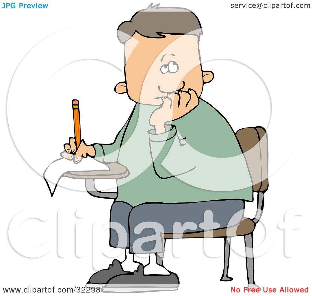 Clipart Illustration of a Nervous School Boy Seated At His Desk.
