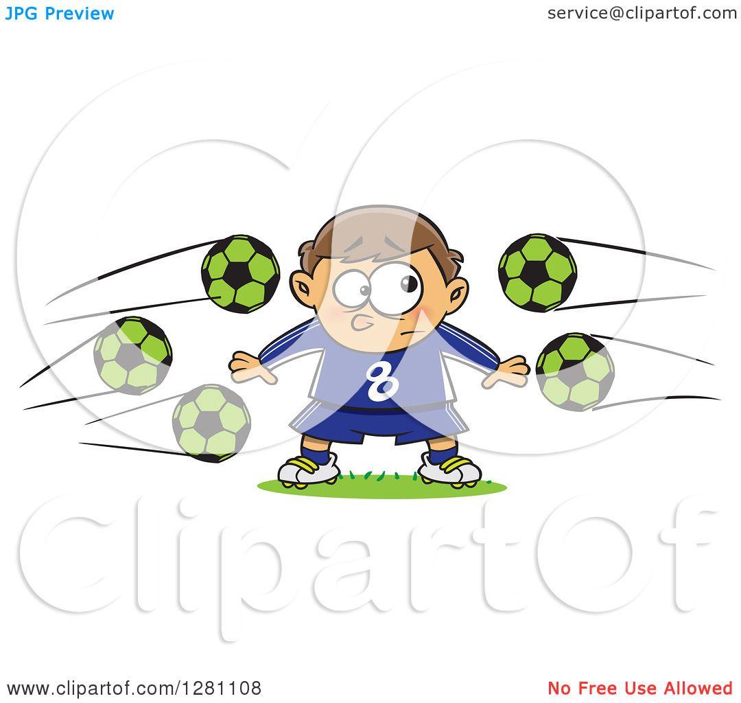 Cartoon Clipart of a Nervous Goal Tender Caucasian Boy with Soccer.