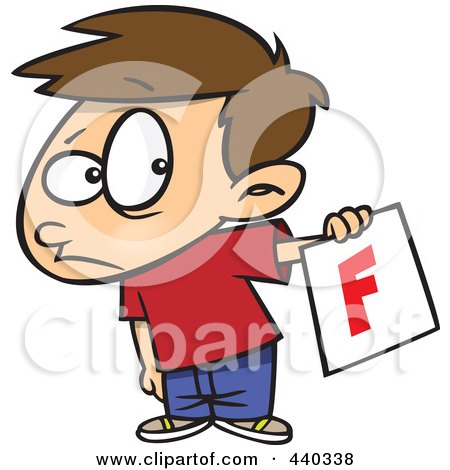 Cartoon Nervous School Boy Holding Out A Bad Report Card Posters.