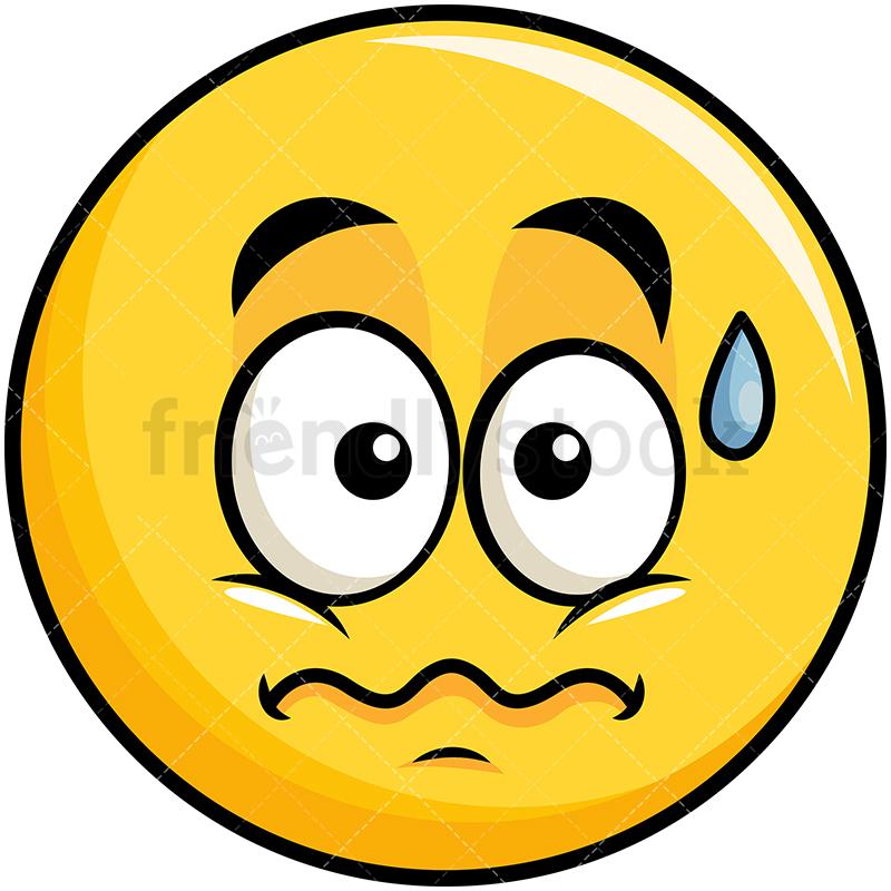 Anxious Yellow Smiley Emoji.
