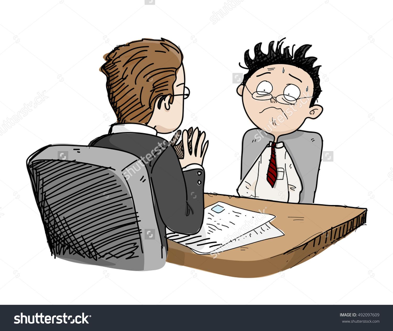 Nervous Job Interview Hand Drawn Vector Stock Vector 492097609.