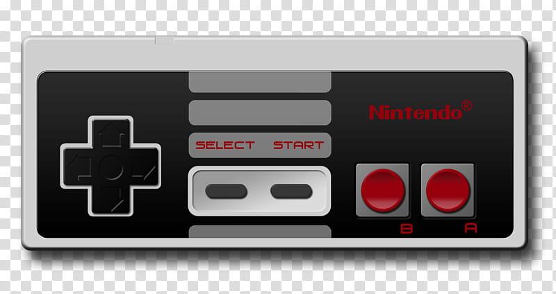 Nintendo NES controller, black and gray Nintendo.