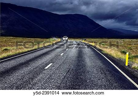 Stock Photo of Road number 360 from Nesjavellir to Thingvellir.