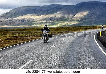 Picture of Europe, Iceland , Southwestern Iceland, motorcyclists.